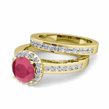 Halo Bridal Set: Diamond and Ruby Engagement Wedding Ring in 18k Gold, 5mm