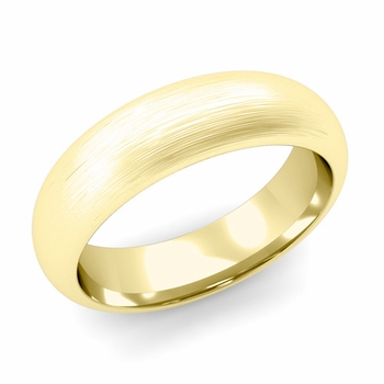 Dome Comfort Fit Wedding Band in 18k White or Yellow Gold, Brushed Finish, 6mm