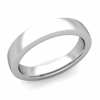 Flat Comfort Fit Wedding Band in 14k White or Yellow Gold, Polished Finish, 4mm