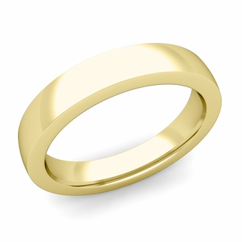 Flat Comfort Fit Wedding Band in 18k White or Yellow Gold, Polished Finish, 4mm