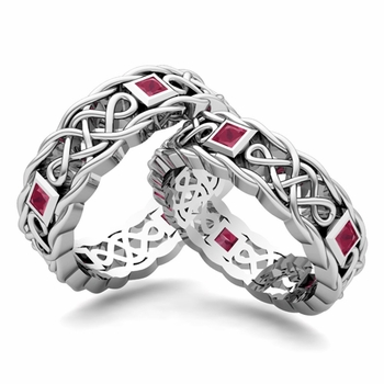 Matching Celtic Knot Wedding Band in Platinum Ruby Wedding Ring