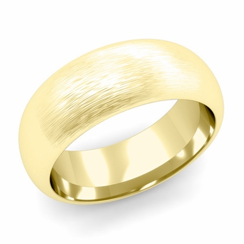 Dome Comfort Fit Wedding Band in 18k White or Yellow Gold, Brushed Finish, 8mm