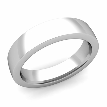 Flat Comfort Fit Wedding Band in 14k White or Yellow Gold, Polished Finish, 5mm