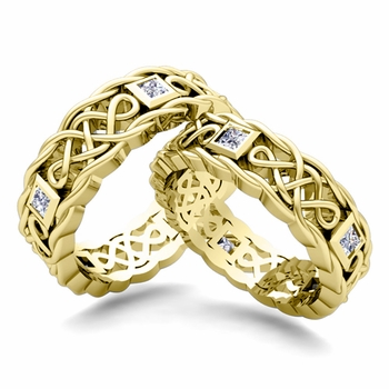 Matching Celtic Knot Wedding Band in 18k Gold Diamond Wedding Ring
