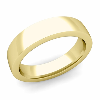 Flat Comfort Fit Wedding Band in 18k White or Yellow Gold, Polished Finish, 5mm