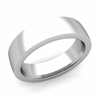 Flat Comfort Fit Wedding Band in 14k White or Yellow Gold, Polished Finish, 6mm