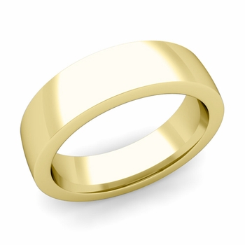 Flat Comfort Fit Wedding Band in 18k White or Yellow Gold, Polished Finish, 6mm