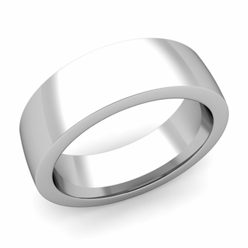 Flat Comfort Fit Wedding Band in 14k White or Yellow Gold, Polished Finish, 7mm