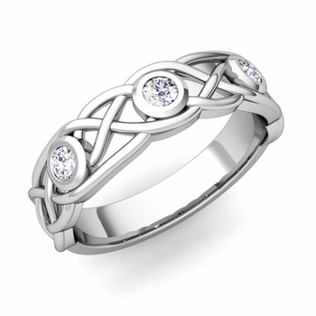 Celtic Knot Diamond Wedding Ring Band in 14k Gold, 5mm