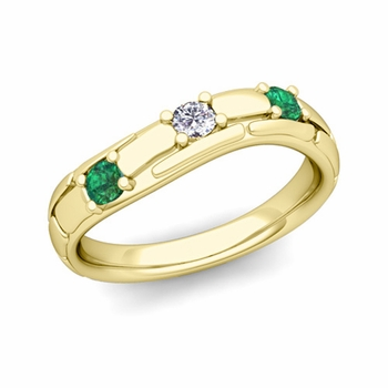Organica 3 Stone Diamond Emerald Wedding Ring in 18k Gold, 3mm
