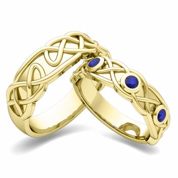 Matching Wedding Band in 18k Gold Celtic Knot Sapphire Wedding Ring