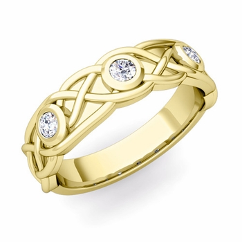 Celtic Knot Diamond Wedding Ring Band in 18k Gold, 5mm