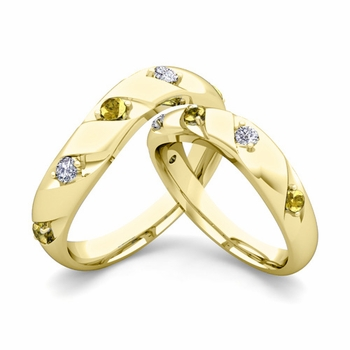Matching Wedding Band in 18k Gold Curved Diamond Yellow Sapphire Wedding Rings