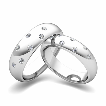 Matching Wedding Bands: Scattered Diamond Wedding Ring in 14k Gold
