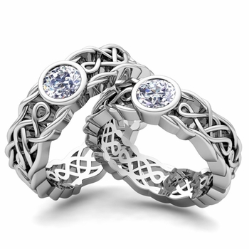 Matching Wedding Band in Platinum Solitaire Diamond Ring