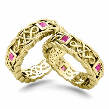 Matching Celtic Knot Wedding Band in 18k Gold Pink Sapphire Wedding Ring