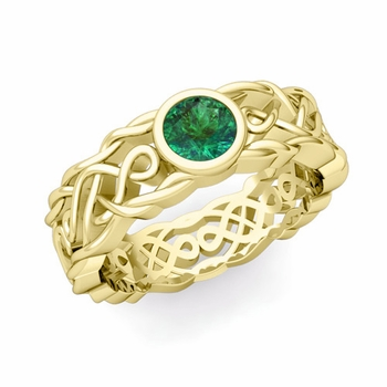 Solitaire Emerald Ring in 18k Gold Celtic Knot Wedding Band, 6.5mm