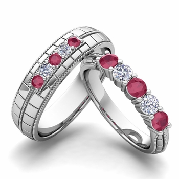 Matching Wedding Band in 14k Gold 5 Stone Diamond and Ruby Wedding Ring