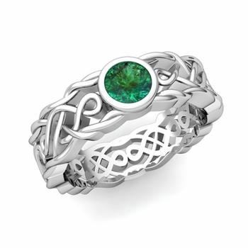 Solitaire Emerald Ring in Platinum Celtic Knot Wedding Band, 6.5mm