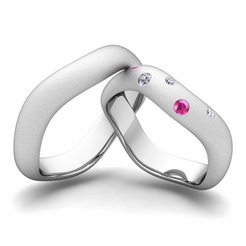 Matching Wedding Band in Platinum Curved Diamond and Pink Sapphire Wedding Ring