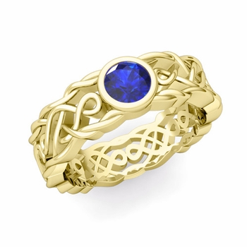 Solitaire Sapphire Ring in 18k Gold Celtic Knot Wedding Band, 6.5mm