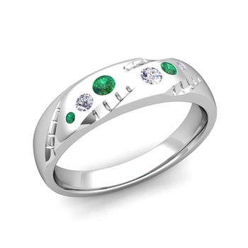 Mens Flush Set Diamond and Emerald Wedding Band in Platinum, 6mm