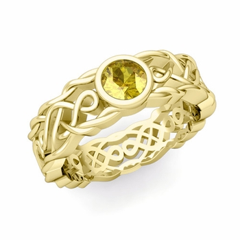 Solitaire Yellow Sapphire Ring in 18k Gold Celtic Knot Wedding Band, 6.5mm