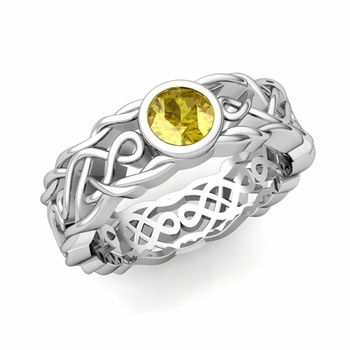 Solitaire Yellow Sapphire Ring in Platinum Celtic Knot Wedding Band, 6.5mm