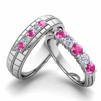 Matching Wedding Band in 14k Gold 5 Stone Diamond and Pink Sapphire Wedding Ring