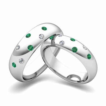 Matching Wedding Bands: Scattered Diamond and Emerald Wedding Ring in 14k Gold