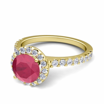 Petite Pave Set Diamond and Ruby Halo Engagement Ring in 18k Gold, 5mm