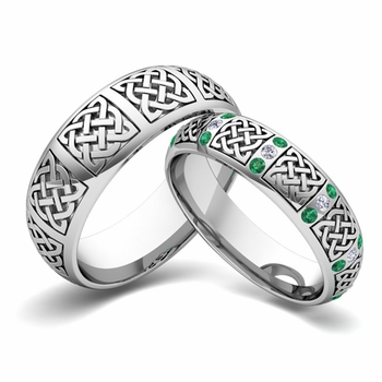 Matching Wedding Band in 14k Gold Diamond and Emerald Celtic Wedding Ring