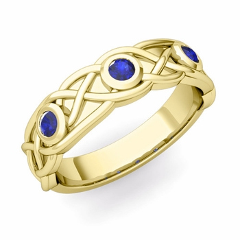 Celtic Knot Sapphire Wedding Ring Band in 18k Gold, 5mm