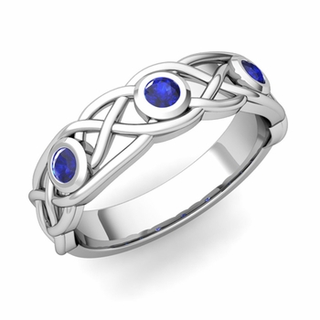 Celtic Knot Sapphire Wedding Ring Band in Platinum, 5mm