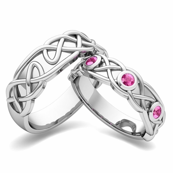 Matching Wedding Band in 14k Gold Celtic Knot Pink Sapphire Wedding Ring