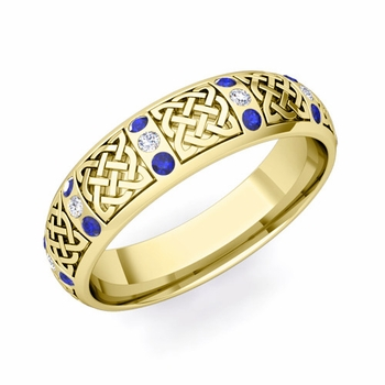 Sapphire and Diamond Wedding Ring in 18k Gold Celtic Wedding Band, 6mm