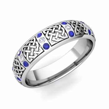 Sapphire and Diamond Wedding Ring in Platinum Celtic Wedding Band, 6mm