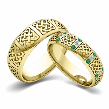Matching Wedding Band in 18k Gold Diamond and Emerald Celtic Wedding Ring