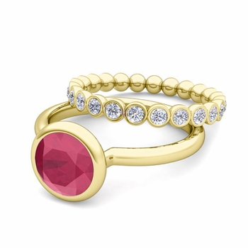 Bezel Set Ruby Ring and Diamond Wedding Ring Bridal Set in 18k Gold, 6mm