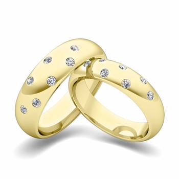 Matching Wedding Bands: Scattered Diamond Wedding Ring in 18k Gold