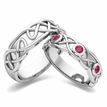 Matching Wedding Band in Platinum Celtic Knot Ruby Wedding Ring