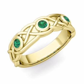 Celtic Knot Emerald Wedding Ring Band in 18k Gold, 5mm