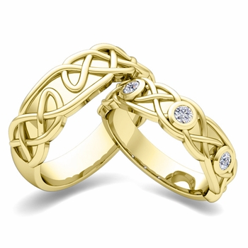Matching Wedding Band in 18k Gold Celtic Knot Diamond Wedding Ring