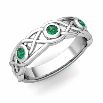 Celtic Knot Emerald Wedding Ring Band in Platinum, 5mm