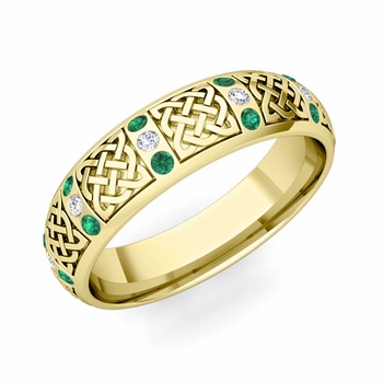 Emerald and Diamond Wedding Ring in 18k Gold Celtic Knot Wedding Band, 6mm
