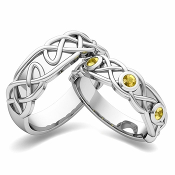 Matching Wedding Band in Platinum Celtic Knot Yellow Sapphire Wedding Ring