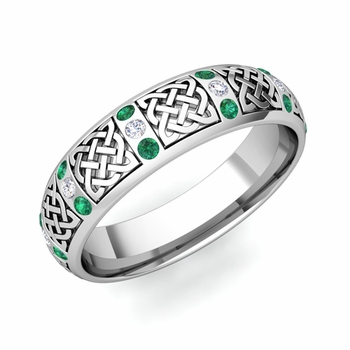 Emerald and Diamond Wedding Ring in Platinum Celtic Knot Wedding Band, 6mm
