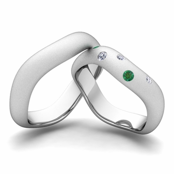 Matching Wedding Band in 14k Gold Curved Diamond and Emerald Wedding Ring