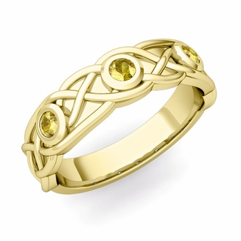 Celtic Knot Yellow Sapphire Wedding Ring Band in 18k Gold, 5mm