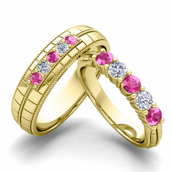 Matching Wedding Band in 18k Gold 5 Stone Diamond and Pink Sapphire Wedding Ring